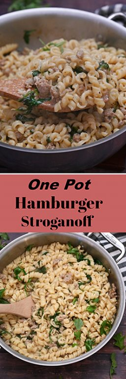 Creamy One Pot Hamburger Stroganoff recipe is an easy weeknight meal with ground beef, veggies and pasta that is on the family table in less than 30 minutes total!