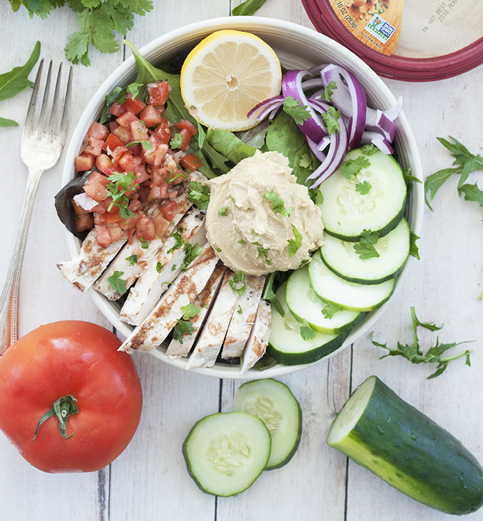 Power Chicken Hummus Bowl is both a salad and a hummus bowl and is a healthy Mediterranean-inspired recipe perfect for lunches or easy weeknight dinner!