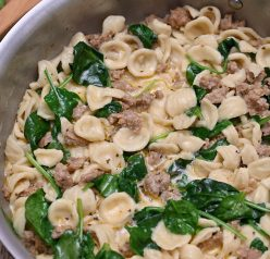 Creamy Spinach Sausage Pasta is an easy pasta dish recipe (30 minutes start to finish): pasta and seasoned Italian sausage tossed in a simple, light cream sauce making it the perfect weeknight meal!