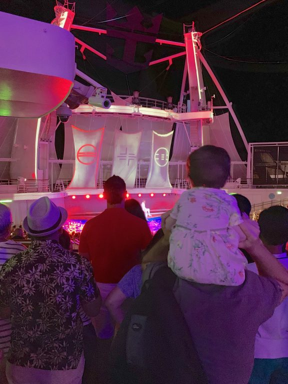 Watching the aqua show on board Royal Caribbean Symphony of the Seas cruise.
