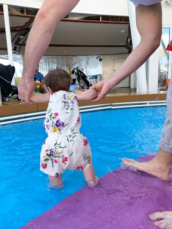 Spashing around in the baby pool during Royal Caribbean Symphony of the Seas caribbean cruise.