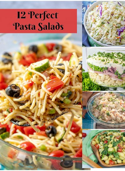 12 Perfect Pasta Salads full of vibrant colors, flavors, and textures. All 12 are the perfect compilation of healthy and hearty and wonderful side dish ideas for any occasion!
