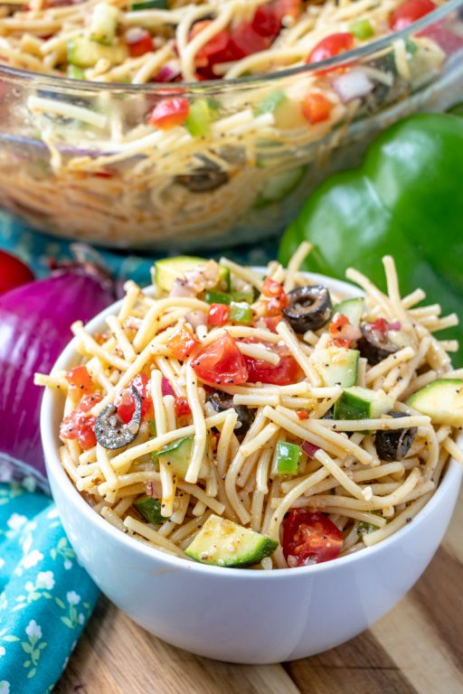 If you need an easy side dish with zucchini, California Spaghetti Salad has diverse textures & is a great summer salad recipe that tastes even better the next day!