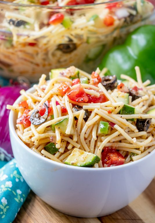Holiday, Potluck or picnic easy side dish idea, California Spaghetti Salad has diverse textures & is a great summer salad recipe that tastes even better the next day!