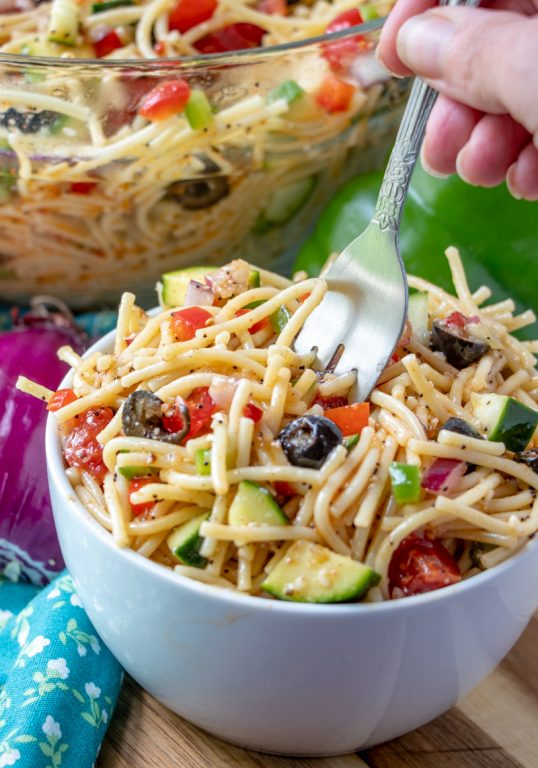 4th of July, Potluck or picnic easy side dish, California Spaghetti Salad has diverse textures & is a great summer salad recipe that tastes even better the next day!