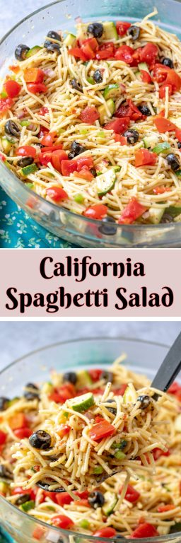 If you need an easy side dish for a picnic, potluck or 4th of July, with pasta & zucchini, California Spaghetti Salad has diverse textures & is a great summer salad recipe that tastes even better the next day!