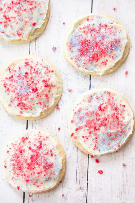 Frosted Firecracker Pop Rocks Cookies are such a fun, festive dessert for kids for the 4th of July!