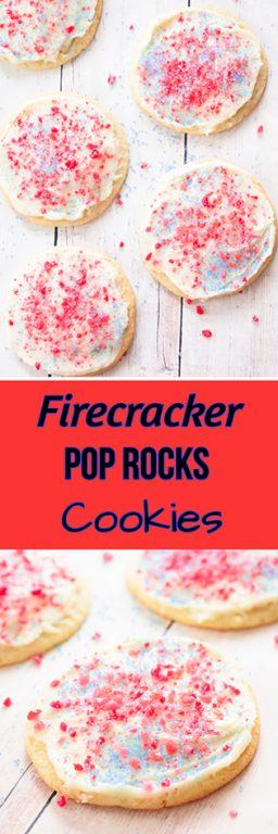 Frosted Firecracker Pop Rocks Cookies are such a fun, festive dessert for kids to make for the 4th of July!
