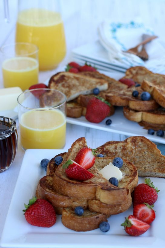 French Toast breakfast with fresh squeezed orange juice.