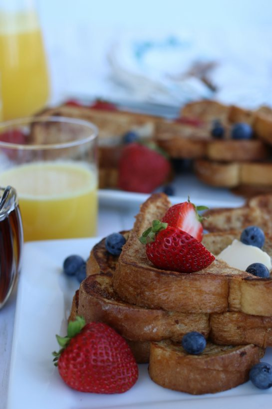 Closeup of french toast with fresh berries.