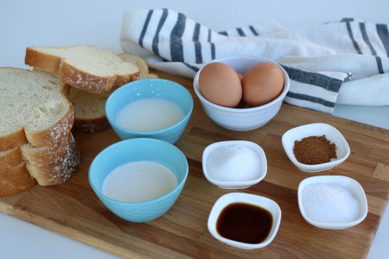 Ingredients to make french toast