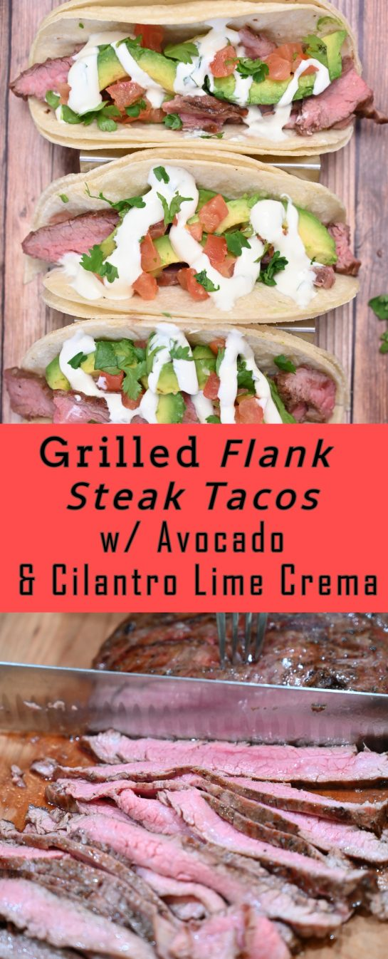 Gluten-free Grilled Flank Steak Tacos with Avocado and Cilantro Lime Crema is easy to prepare during a weeknight or on weekends! This grilled beef recipe with a Mexican twist is wonderful for beginners and grilling experts alike.