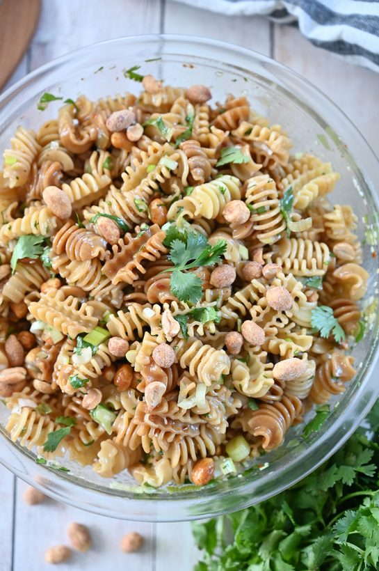 Delicious Sesame Pasta Salad recipe: pasta tossed in a sesame oil and soy sauce-based dressing is a refreshing, Asian-inspired side dish perfect for summer picnics, BBQ, or potlucks!