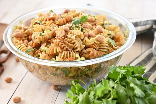 Delicious and easy Sesame Pasta Salad recipe: pasta tossed in a sesame oil and soy sauce-based dressing is a refreshing, Asian-inspired side dish perfect for summer picnics, BBQ, or potlucks!