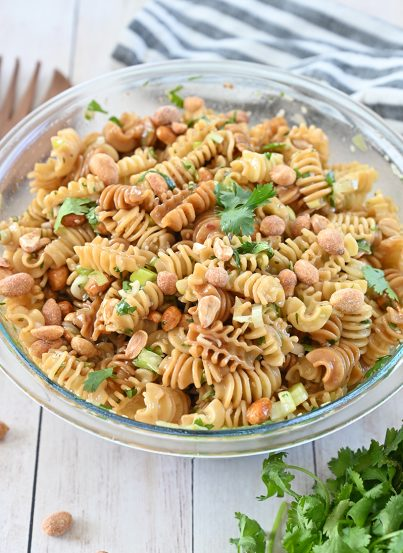 Delicious Sesame Pasta Salad recipe: pasta tossed in a sesame oil and soy sauce-based dressing is a refreshing, Asian-inspired side dish perfect for picnics, BBQ, or potlucks!