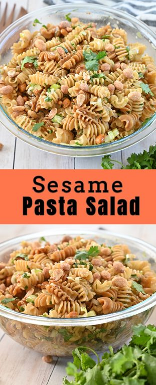 Delicious Sesame Pasta Salad recipe: pasta tossed in a sesame oil and soy sauce-based dressing is a refreshing, Asian-inspired side dish perfect for holidays, picnics, BBQ, or potlucks!