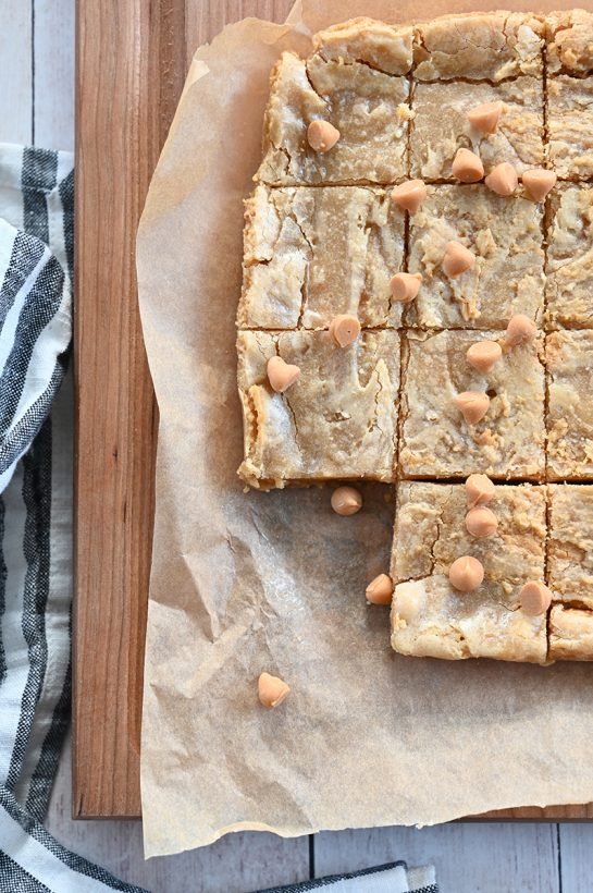 Super soft, chewy homemade Butterscotch Blonde brownies with a hint of nuttiness from the browned butter and hints of butterscotch. Such an easy dessert recipe in a pinch!