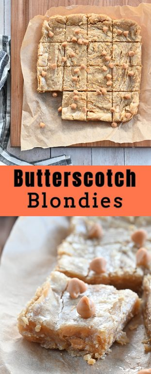 Very chewy homemade Butterscotch Blondies (AKA blonde brownies) with a hint of nuttiness from the browned butter and hints of butterscotch. Such an easy dessert recipe when you're in a pinch!