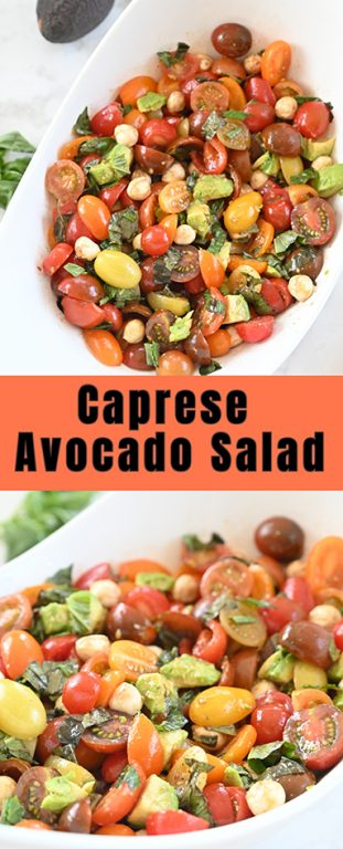 Light, refreshing, healthy Caprese Avocado Salad recipe packed with fresh mozzarella cheese is a quick and easy dinner idea or side dish idea in a salad! This is great for any picnic, holiday, or BBQ!