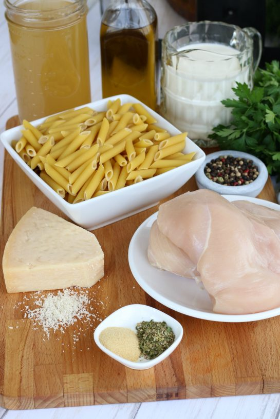 Ingredients for chicken alfredo with pasta, can be made in a slow cooker or on the stove-top.