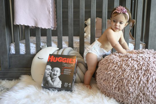 Eliza in Huggies special delivery diapers.