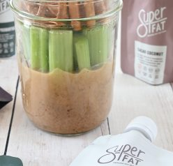 Mason Jar Pretzel, Celery, Almond Butter Snack with SuperFat nut butter is the perfect healthy on-the-go snack loaded with protein to give you a quick boost of energy during the day!