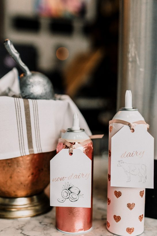 Easy tips and tricks for Setting up a Coffee Bar for your Party! Invite a few freinds over and host a casual coffee bar party right at home or set it up for a large birthday party or wedding!