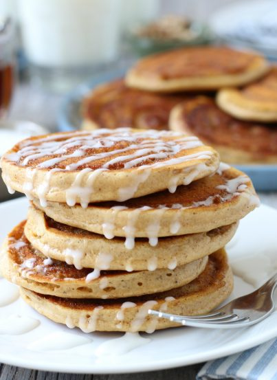 My cinnamon swirl pancake recipe is great! Cinnamon roll pumpkin pancakes make the perfect weekend breakfast! They are an excellent sweet treat and a great holiday breakfast.