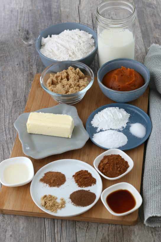All the ingredients needed to make cinnamon roll pancake recipe laid out before you begin.