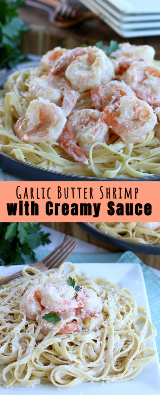 Garlic Butter Shrimp with Creamy Sauce recipe: learn how to cook shrimp with garlic sauce for an easy dinner recipe. Garlic butter shrimp are great alone or serve them with pasta!
