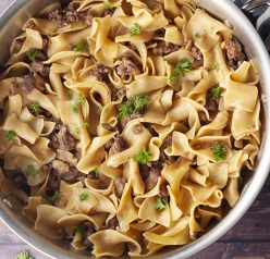 Ground Turkey Stroganoff recipe that is very fast and simple to make with an easy homemade sauce instead of using cream of mushroom soup!