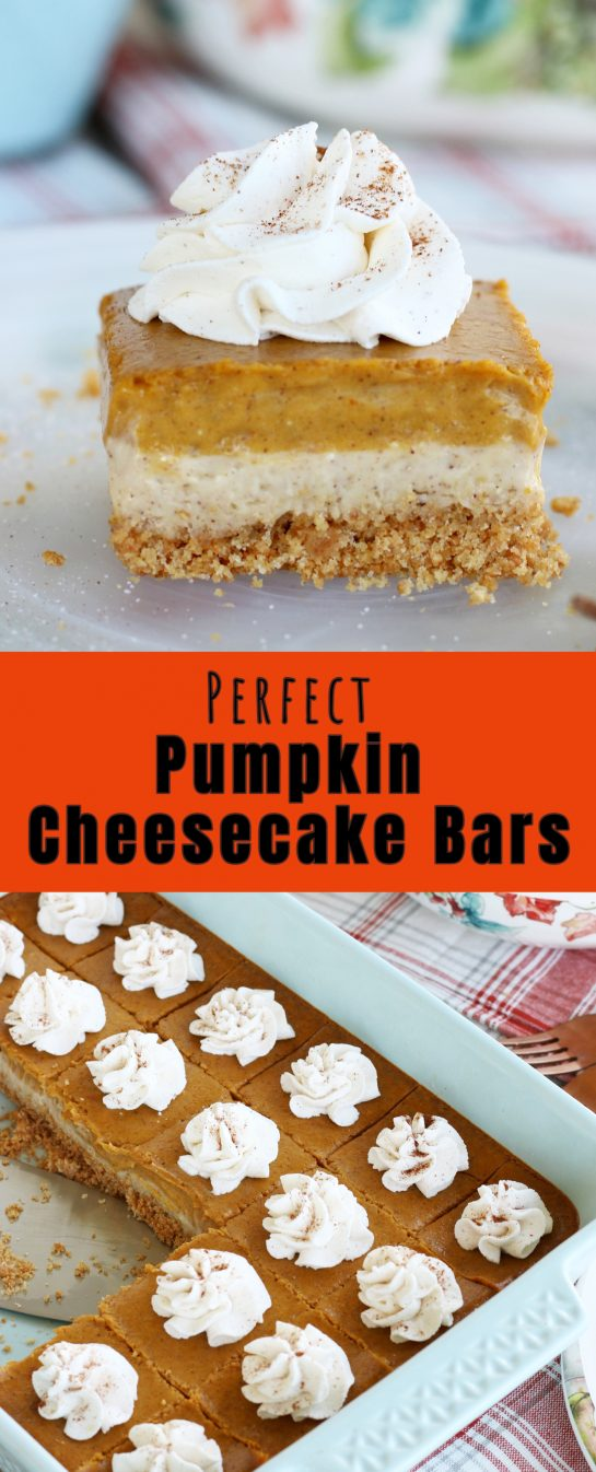 This amazing perfect pumpkin cheesecake bars recipe has buttery graham cracker crust, a cream cheese layer and a pumpkin cream cheese layer! A great fall and Thanksgiving dessert idea!