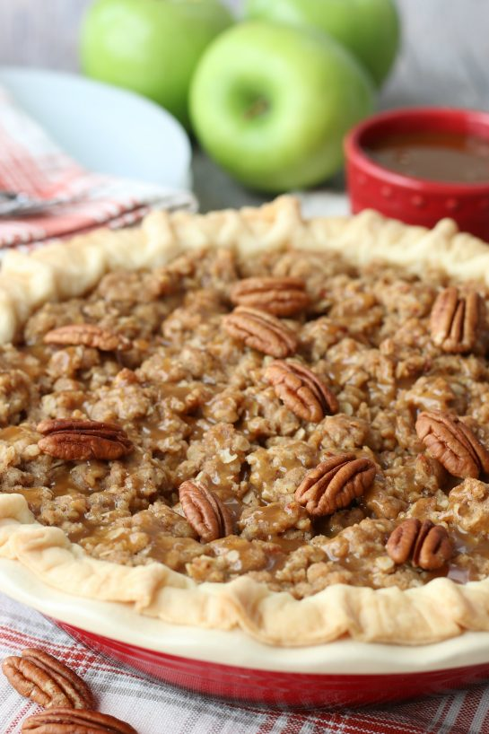 An up close shot of the finished and beautiful caramel apple pie recipe.