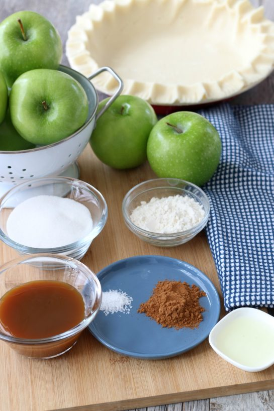 These are the ingredients for the caramel apple pie filling all laid out before we being baking.