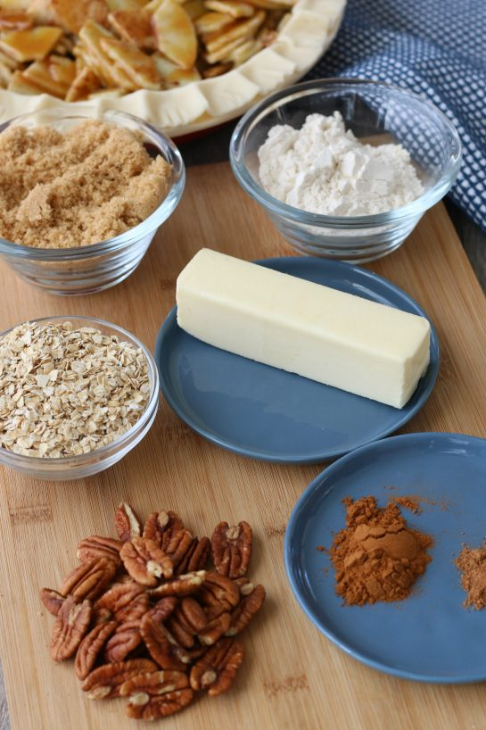 Here we see the ingredients needed for the caramel apple pie crust before we start baking.