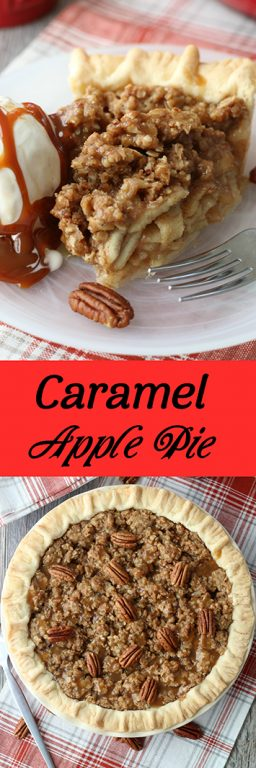 This caramel apple pie recipe has a delightful topping! Caramel apple pie filling is easy to make and makes the perfect dessert for any season!