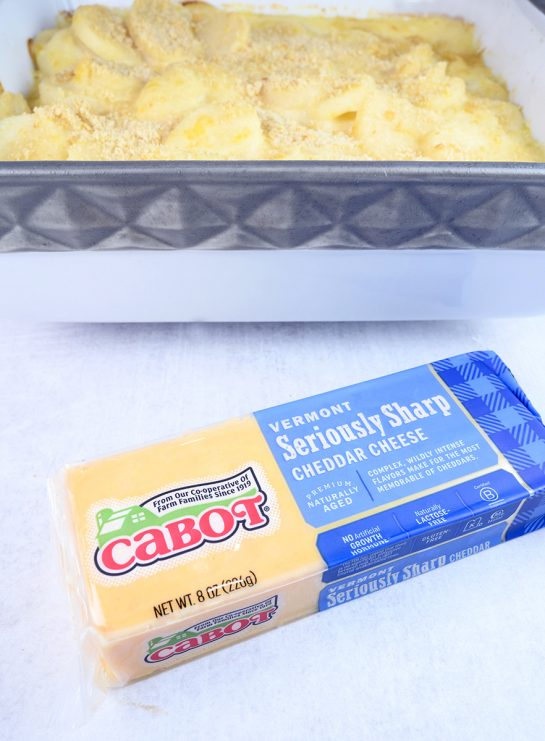 Cheddar Parmesan Scalloped Potatoes made with Cabot cheese yellow sharp cheddar cheese.