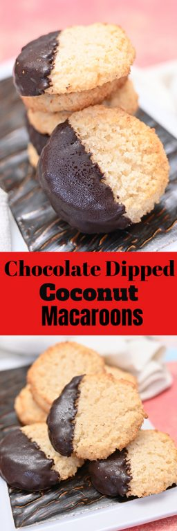 Chocolate Dipped Coconut Macaroons have a sweet and chewy texture, dipped in sweet melted chocolate for the ultimate holiday dessert experience. This recipe is so easy to make for Christmas!