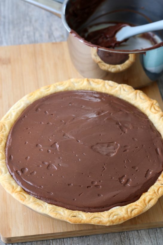 Old fashioned chocolate pie is ready to be chilled and then served.