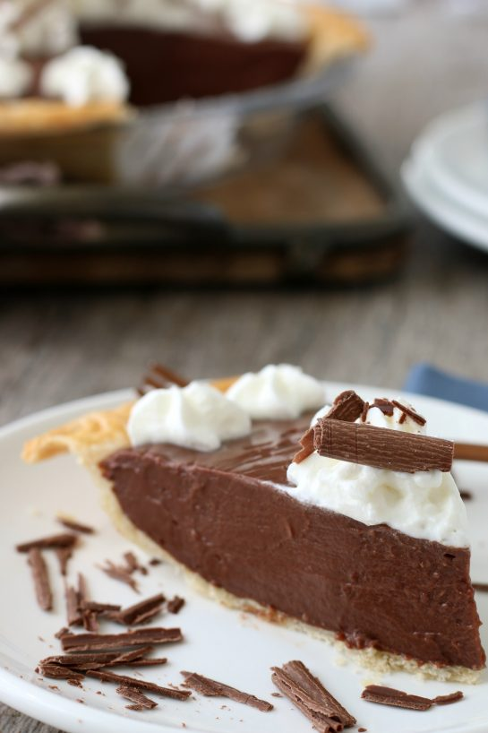 Close up of a slice of the finished old fashioned chocolate pie.