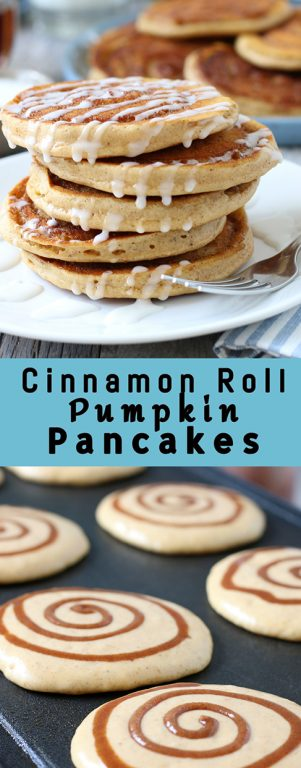 This holiday cinnamon swirl pancake recipe is great! Cinnamon roll pumpkin pancakes make the perfect weekend breakfast! They are an excellent sweet treat and a great fall holiday breakfast.