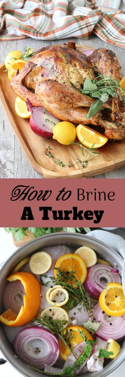 I'm going to show you how to brine a turkey, more importantly we are going to cover the recipe for turkey brine, how long to brine, and why brining a turkey will make it the best one you've ever eaten!
