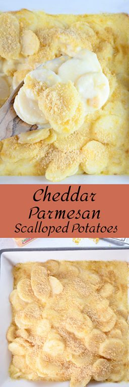 Cheddar Parmesan Scalloped Potatoes makes a great Thanksgiving or Christmas side dish. If you're looking for a comforting potluck side dish idea for the holidays, this is it!