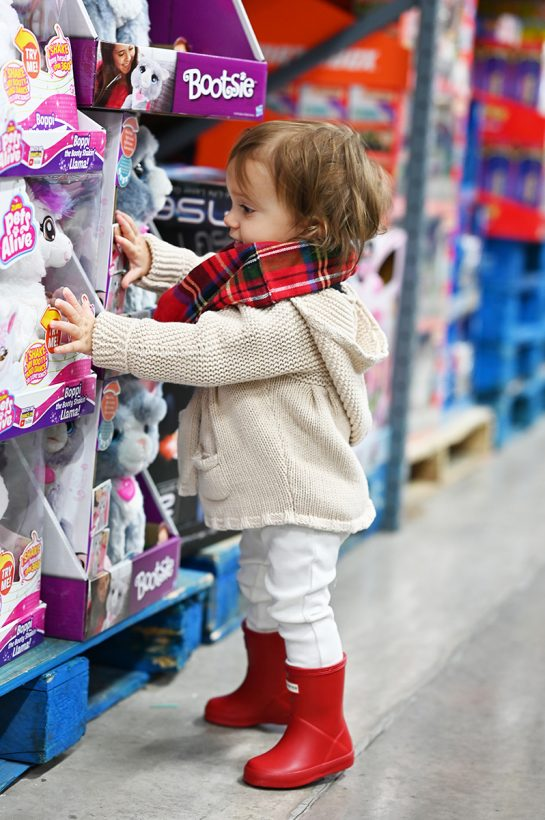 Toddler shopping for toys at BJ's Wholesale Club