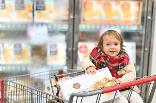 Baby holding Puff pastry assortment at BJ's Wholesale