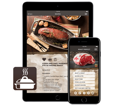 Certified Angus Beef animated Roast Perfect App to help you cook the perfect roast.