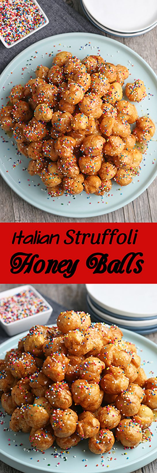 My struffoli recipe is a tasty holiday dessert! Struffoli are Italian honey balls, small crunchy balls of dough mixed with honey and candy toppings. Check out how easy it is to make this classic dessert recipe.