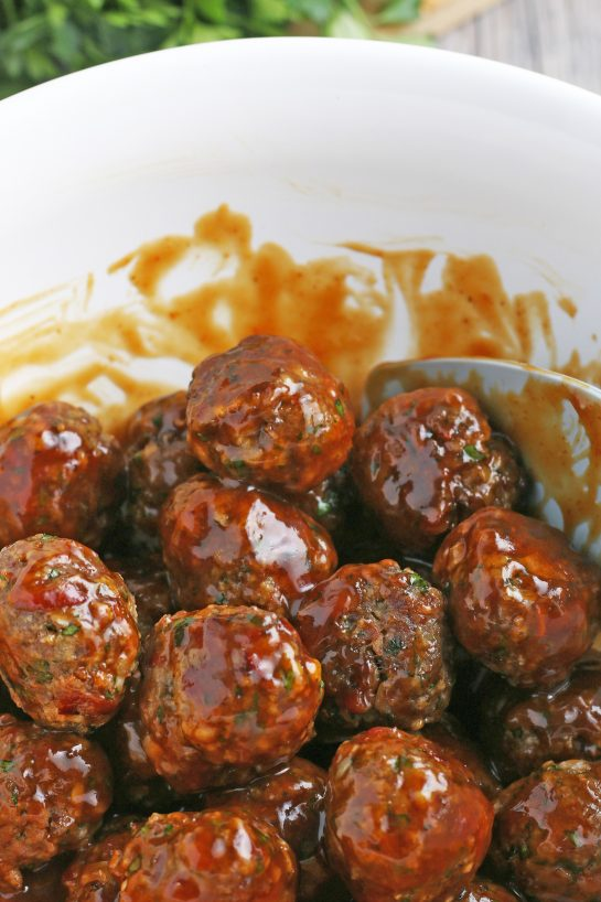 The sauced meatballs are looking great, these easy meatballs are soon ready to eat.