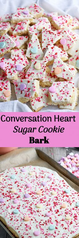This conversation heart sugar cookie bark is part cookie, part candy, and part awesome. Sugar cookie dough ideas that are unique and fun are perfect for Valentine's Day and all year long. My conversation heart cookie bark is a sweet treat that looks as good as it tastes.