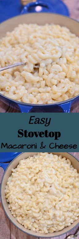 Easy, creamy Stovetop Macaroni & Cheese recipe with sharp cheddar is my favorite way to get dinner on the table when you're short on time. It can also be a hot party appetizer idea or potluck dish to pass!